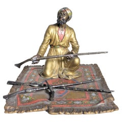 Large Antique Austrian Cold Painted Bronze Figure of an Arabian Arms Merchant