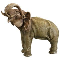 Large Antique Austrian Teplitz Amphora Pottery Figural Elephant Sculpture C 1900