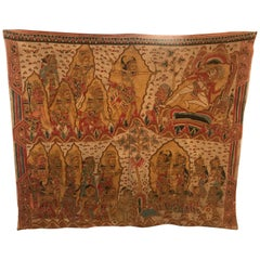Large Antique Balinese Handwoven and Painted Batik Tapestry