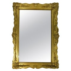 Large Antique Baroque Gold-Plated Wall Mirror, 19th Century
