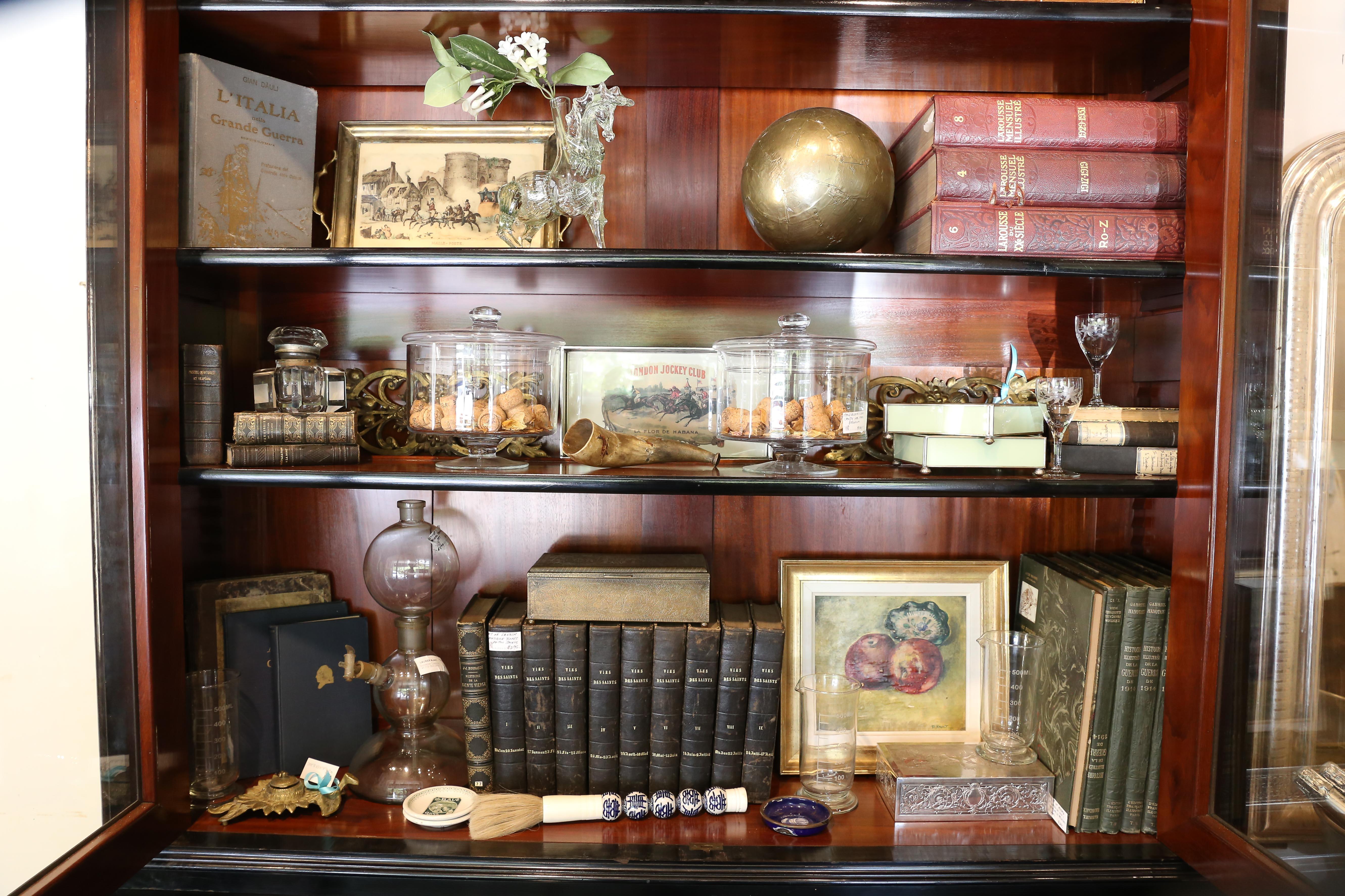 Excellent Large Antique Belgian Ebonized Wood Deux Corps Biblioteque Vitrine Bookshelf Download Free Architecture Designs Scobabritishbridgeorg