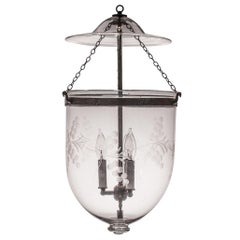 Antique Bell Jar Lantern with Vine Etching