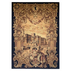 Large Antique Berlin Machine Woven Tapestry in Black, Gold and Burgundy