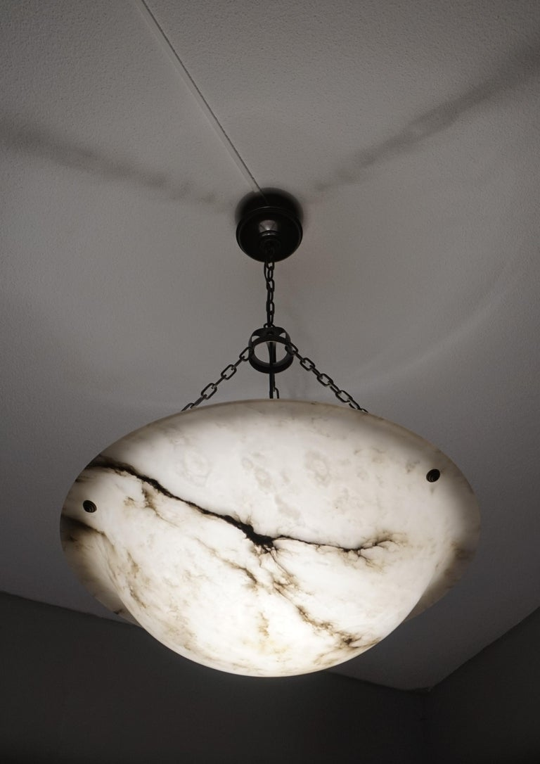 Extra Large Antique Black & White Alabaster Chandelier Top Quality Light Fixture For Sale 5