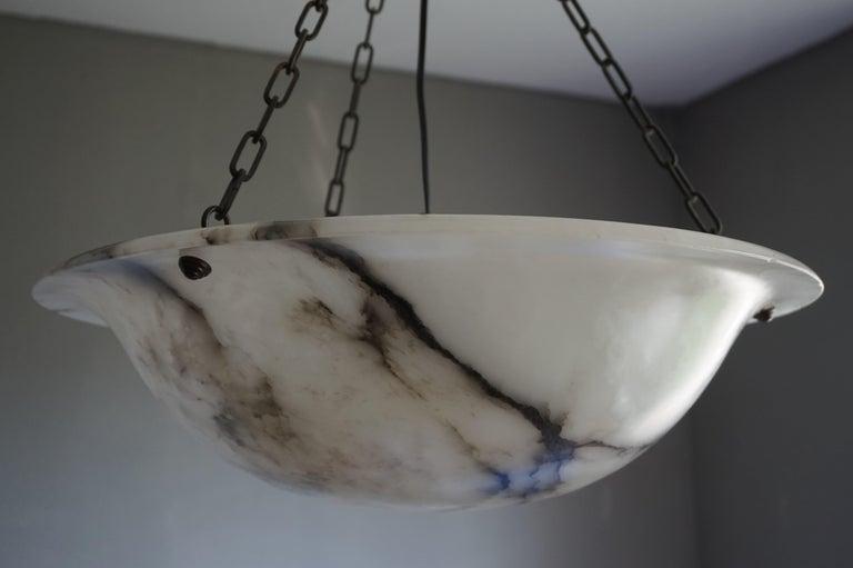 Extra Large Antique Black & White Alabaster Chandelier Top Quality Light Fixture For Sale 6
