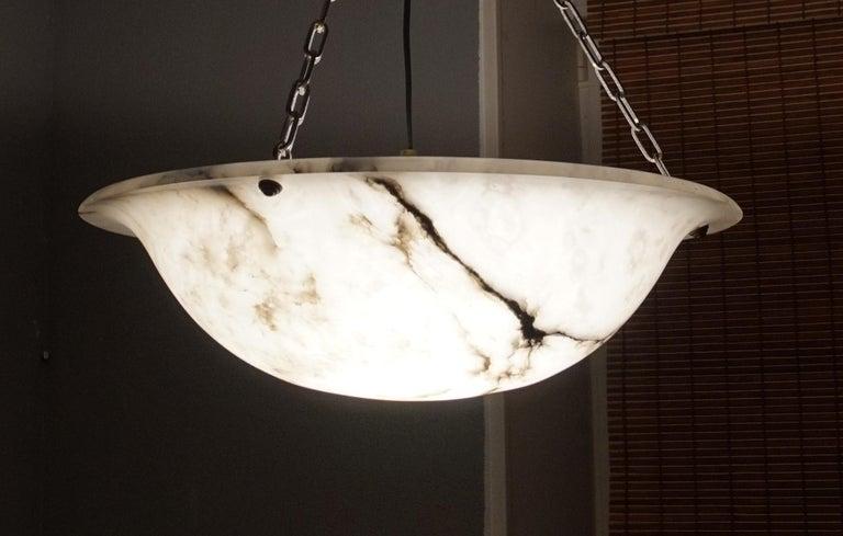 Extra Large Antique Black & White Alabaster Chandelier Top Quality Light Fixture For Sale 7
