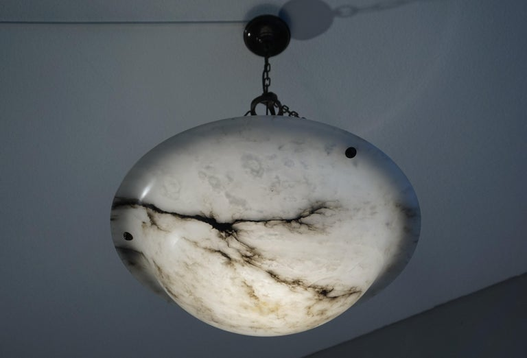 Blackened Extra Large Antique Black & White Alabaster Chandelier Top Quality Light Fixture For Sale