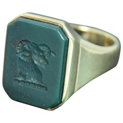 Large Antique Bloodstone Ram Intaglio 9 Carat Gold Seal Signet Ring