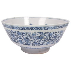 Large Antique Blue and White Delft Punch Bowl Hand-Painted Made circa 1780