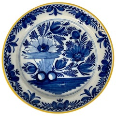 Large Antique Blue and White Dutch Delft Charger Made Circa 1800