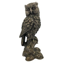 Large Antique Brass Silvered Owl Sculpture, circa 1890