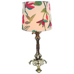 Large Antique Brass Table Lamp in the Manner of WAS Benson