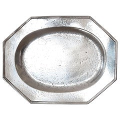 Large Antique Brightly Polished Pewter Meat Plate with Armorial.