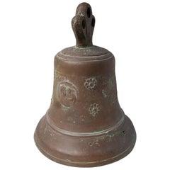 Large Antique Bronze Bell with Original Clapper
