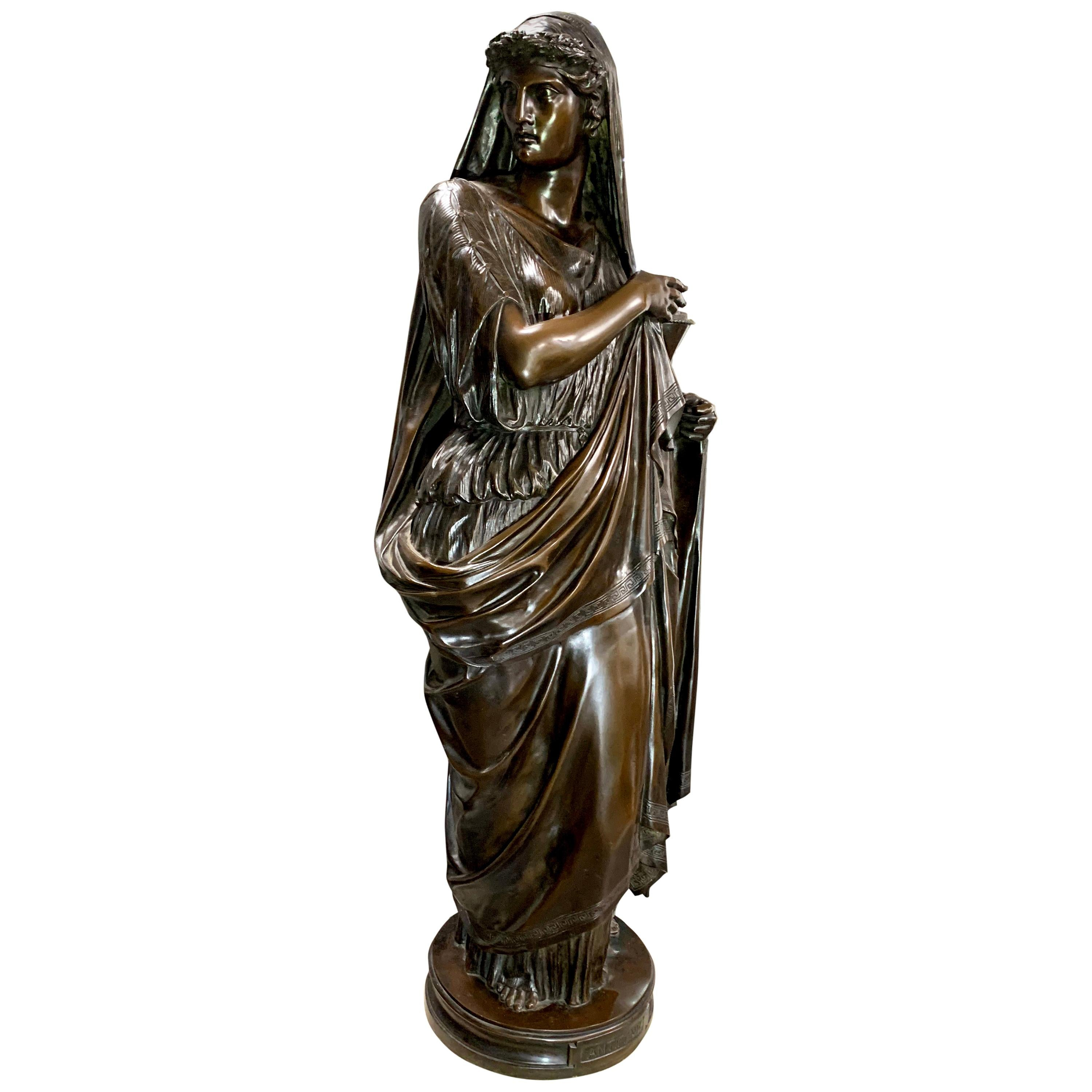 Large Antique Bronze Classical Figure of a Lady