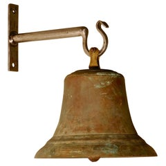 Large Antique Bronze French Ships Bell with New Wall Mounting Bracket