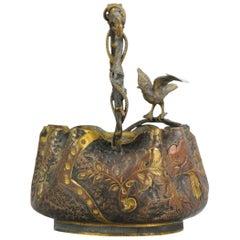Large Antique Bronze Gilded Basket Japan 19th Century Bird Flower Scene