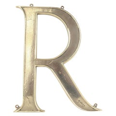 Large Antique Bronze Letter or Initial ' R '. English, circa 1900