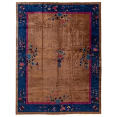 Large Antique Brown Art Deco Chinese Wool Rug