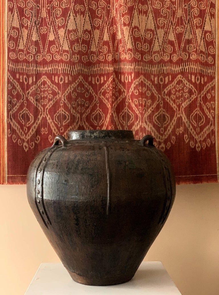 Archaistic Large Antique Burmese Ceramic Jar from Martaban  For Sale