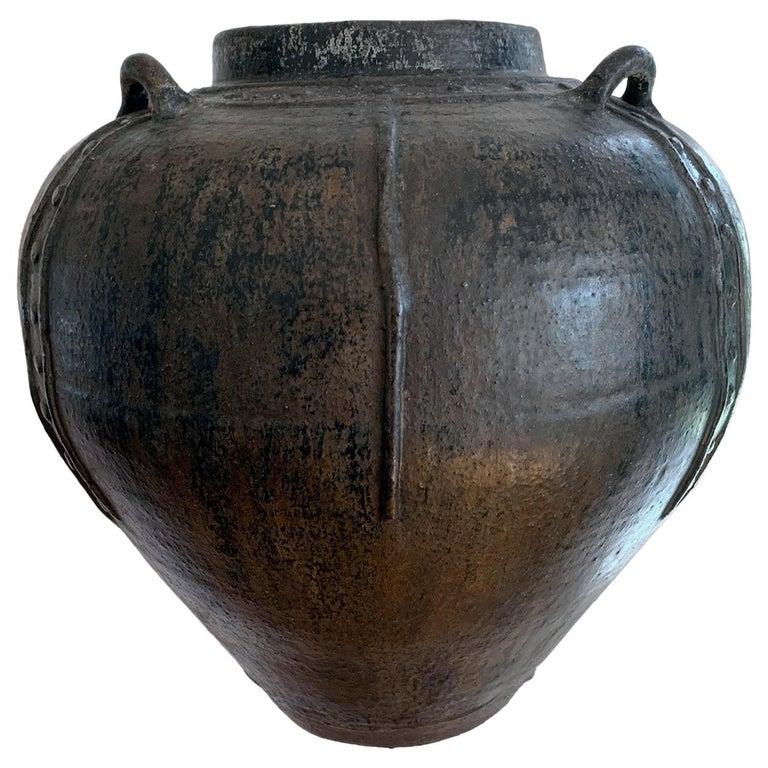 Large Antique Burmese Ceramic Jar from Martaban  For Sale