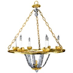 Large Antique Caldwell Art Deco Gilt Bronze and Silvered Bronze Chandelier