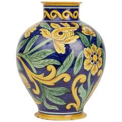 Large Antique Cantagalli Maiolica Floral Painted Vase