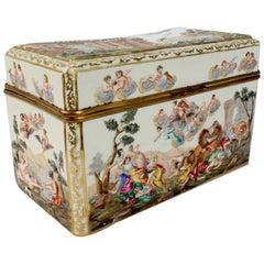 Large Antique Capodimonte Porcelain Meissen Style Porcelain Casket or Table Box