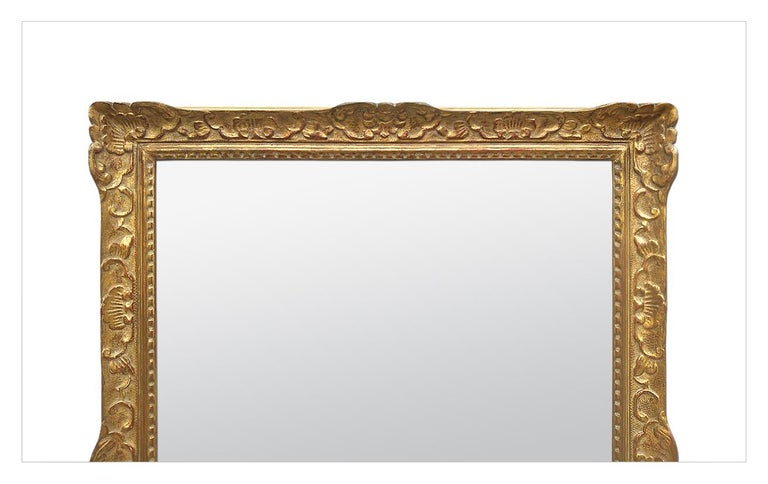 French Large Antique Carved Gilt Wood Mirror, Louis XIV Style, circa 1965 For Sale