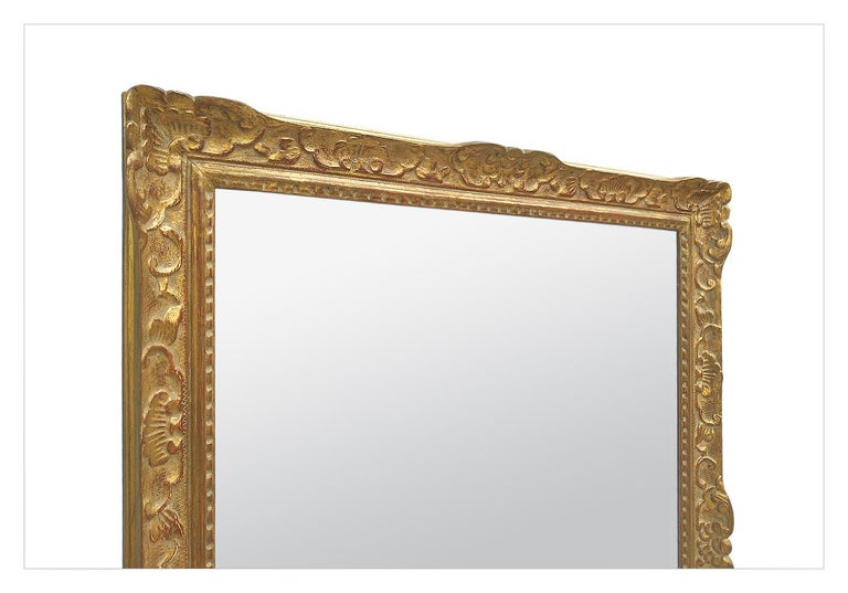 Large Antique Carved Gilt Wood Mirror, Louis XIV Style, circa 1965 In Good Condition For Sale In Paris, FR
