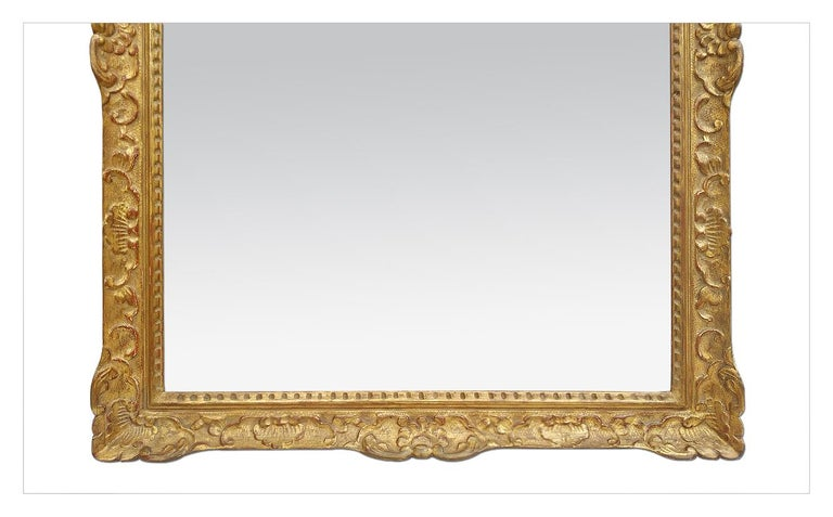 Large Antique Carved Gilt Wood Mirror, Louis XIV Style, circa 1965 For Sale 1