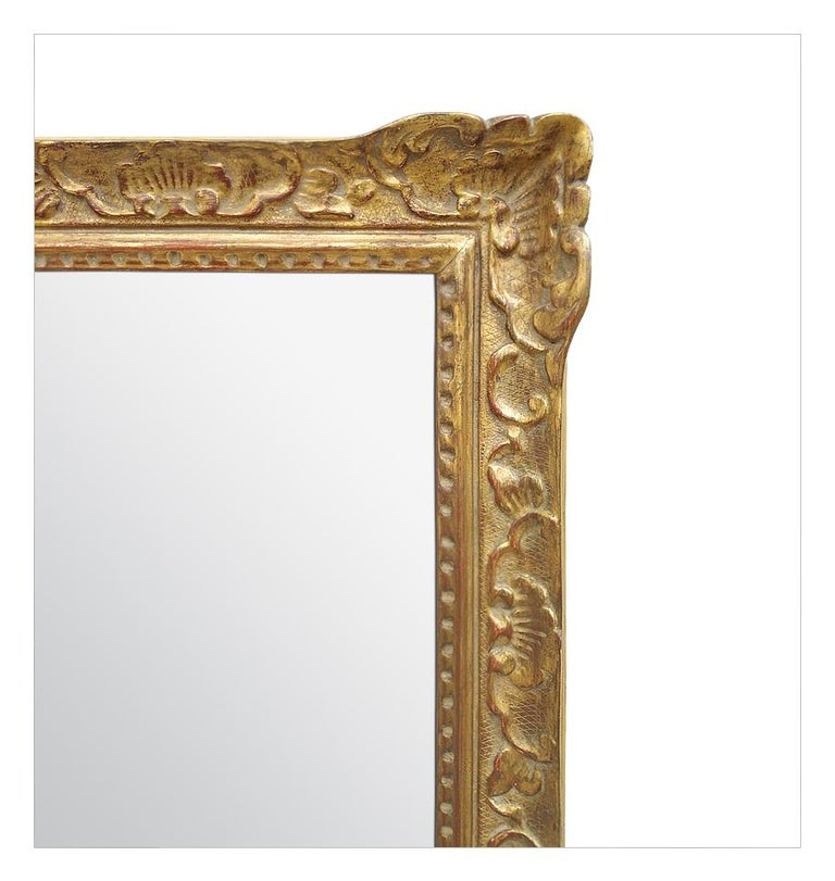 Large Antique Carved Gilt Wood Mirror, Louis XIV Style, circa 1965 For Sale 2