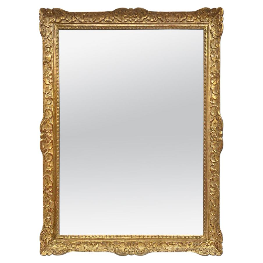 Large Antique Carved Gilt Wood Mirror, Louis XIV Style, circa 1965