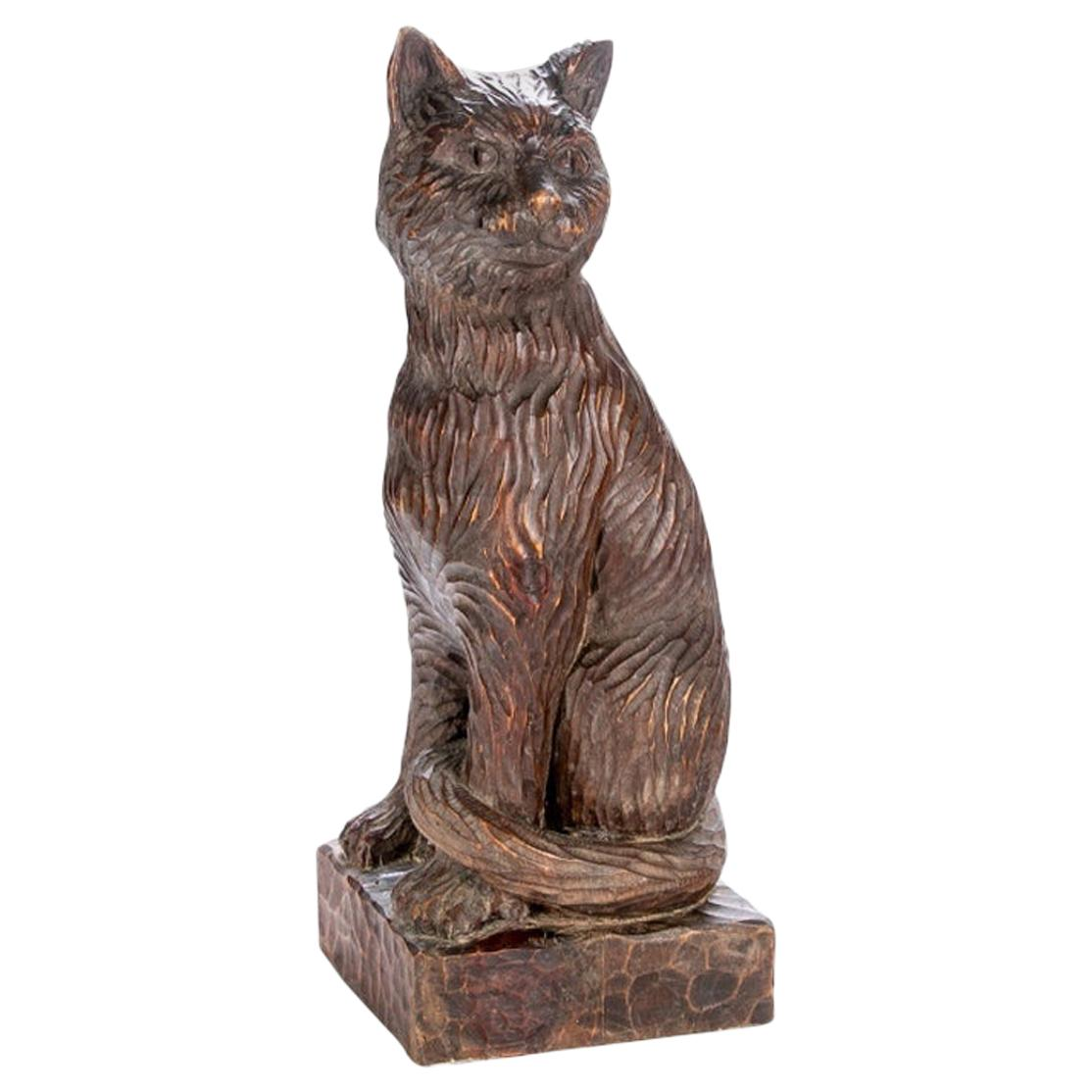 Large Antique Carved Wood Folk Art Cat
