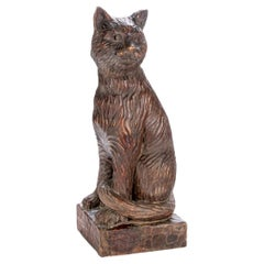 Large Antique Carved Wood Folk Art Cat