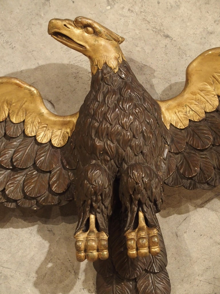 Large Antique Carved Wooden Eagle Sculpture Late 18th Century