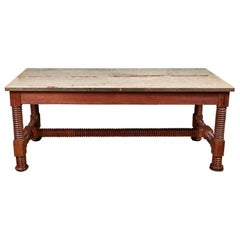 Large Antique Center Table with Original Marble-Top and Spool Turned Legs