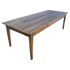 Large Antique Chestnut Farm Table, Two Drawers