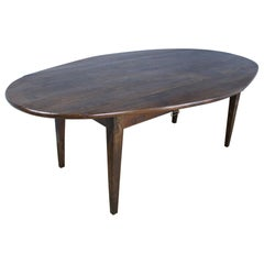 Large Antique Chestnut Oval Drop-Leaf Dining Table