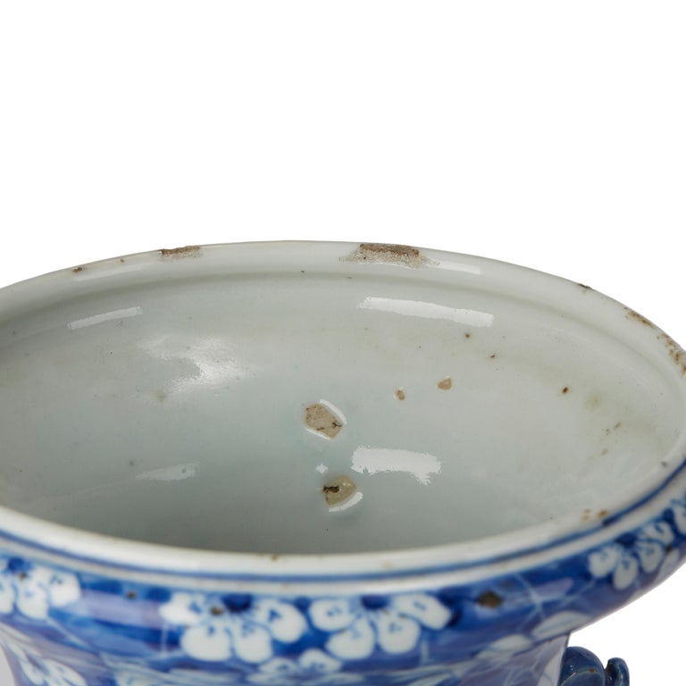 Large Antique Chinese Blue and White Baluster Vase, 19th Century For Sale 6