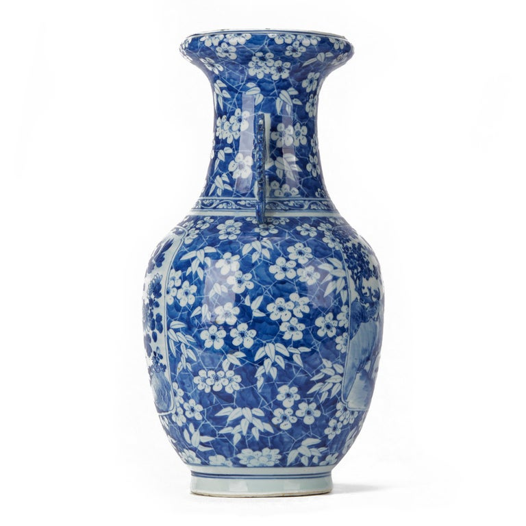 Glazed Large Antique Chinese Blue and White Baluster Vase, 19th Century For Sale
