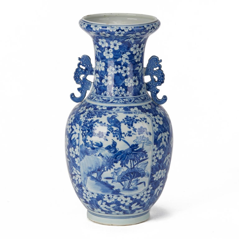Large Antique Chinese Blue and White Baluster Vase, 19th Century In Fair Condition For Sale In Bishop's Stortford, Hertfordshire