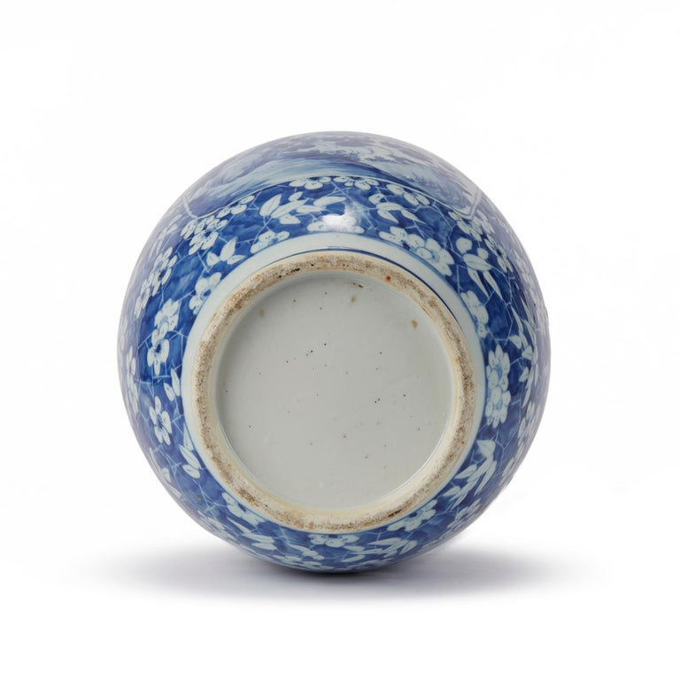 Porcelain Large Antique Chinese Blue and White Baluster Vase, 19th Century For Sale