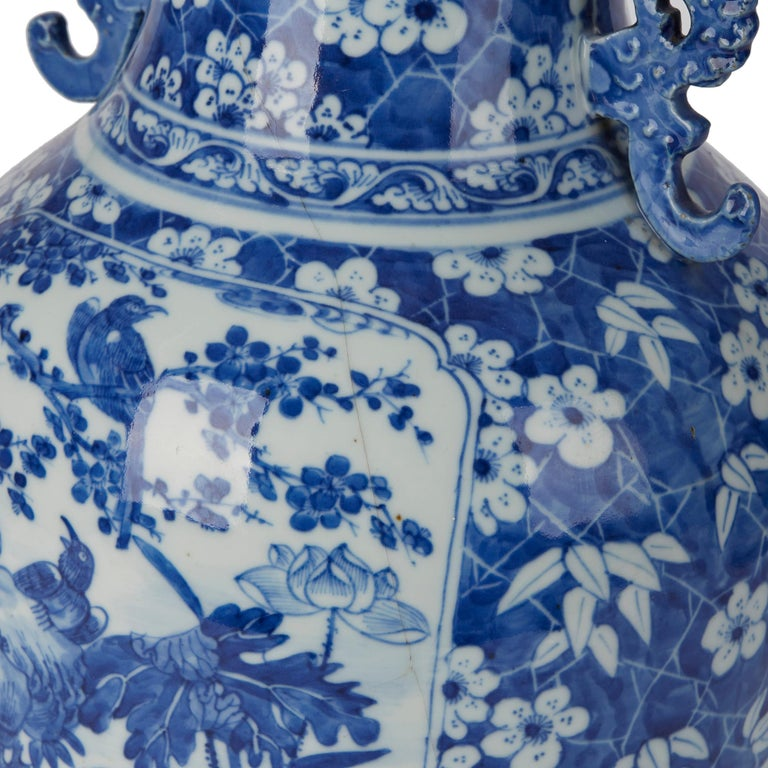 Large Antique Chinese Blue and White Baluster Vase, 19th Century For Sale 2