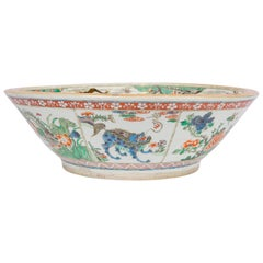 Large Antique Chinese Bowl Decorated in Famille Verte Enamels