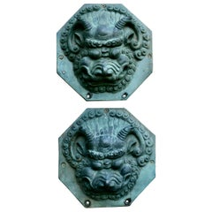 Large Antique Chinese Bronze Foo Dog Foo Lion Door Plates