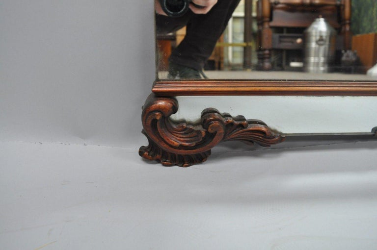 Large Antique Chinese Chippendale Mahogany Wall Mirror Sofa Dresser Etched Glass For Sale 1