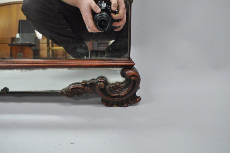 Large Antique Chinese Chippendale Mahogany Wall Mirror Sofa Dresser Etched Glass For Sale 3