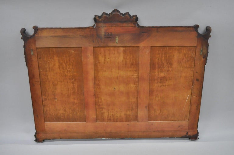 Large Antique Chinese Chippendale Mahogany Wall Mirror Sofa Dresser Etched Glass For Sale 4