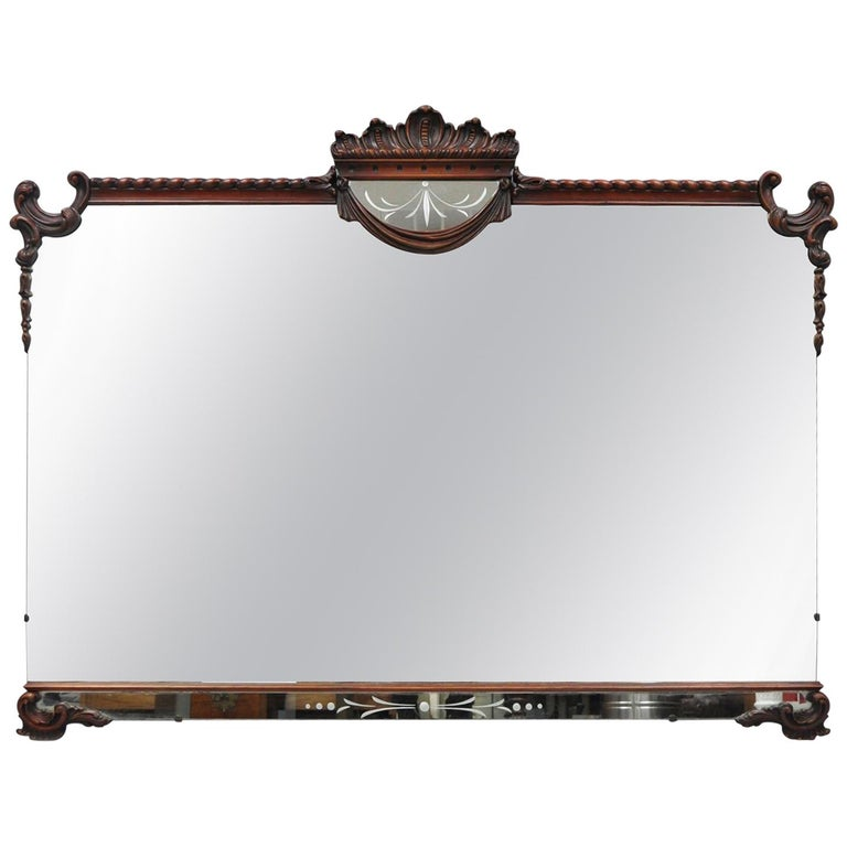 Large Antique Chinese Chippendale Mahogany Wall Mirror Sofa Dresser Etched Glass For Sale